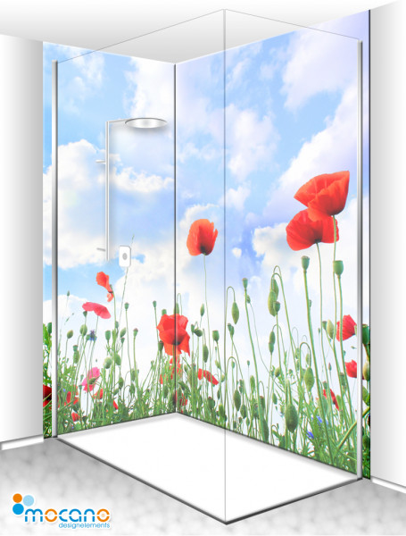 Duschrückwand Eck-Set Mohnblumen 200x210cm - Wohnbeispiel