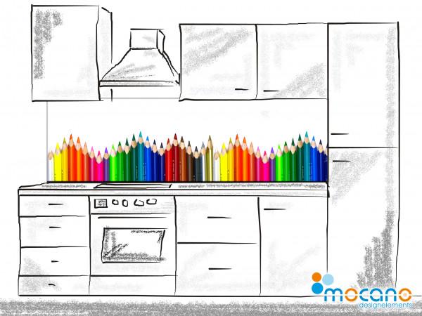 Küchenrückwand Buntstifte 200x60cm - Wohnbeispiel