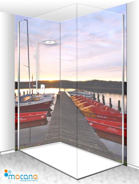 Duschrückwand Eck-Set Bootssteg Sonnenaufgang 2 200x210cm - Wohnbeispiel