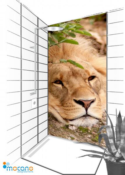 Duschrückwand Löwe 90x210cm - Wohnbeispiel