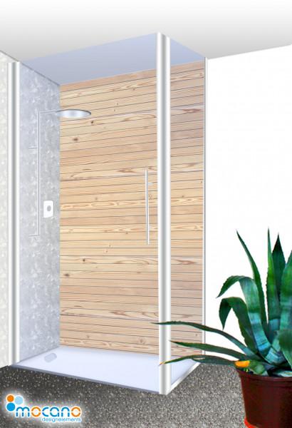 Duschrückwand Holzoptik Zirbe 100x210cm - Wohnbeispiel