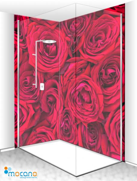 Duschrückwand Eck-Set Rote Rosen 200x210cm - Wohnbeispiel