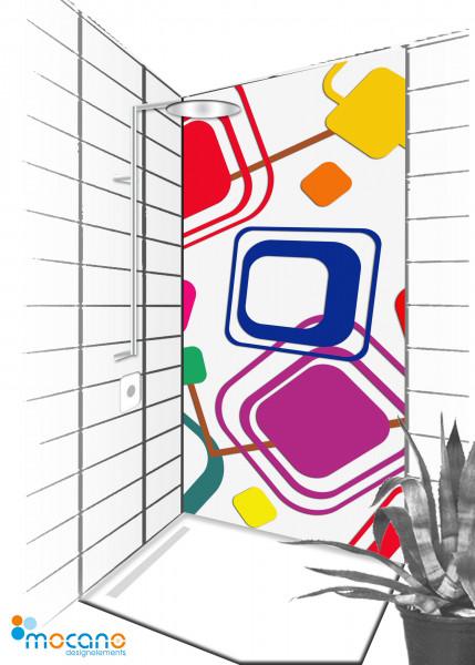 Duschrückwand Retro Classic Line 001 - 90x210cm - Wohnbeispiel