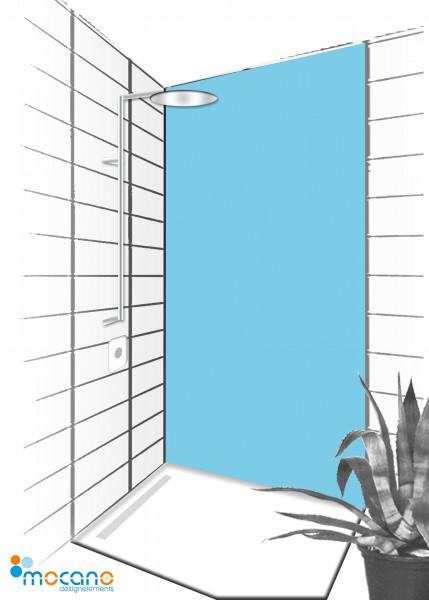 Duschrückwand Licht Blau 90x210cm einfarbig UNI - Wohnbeispiel