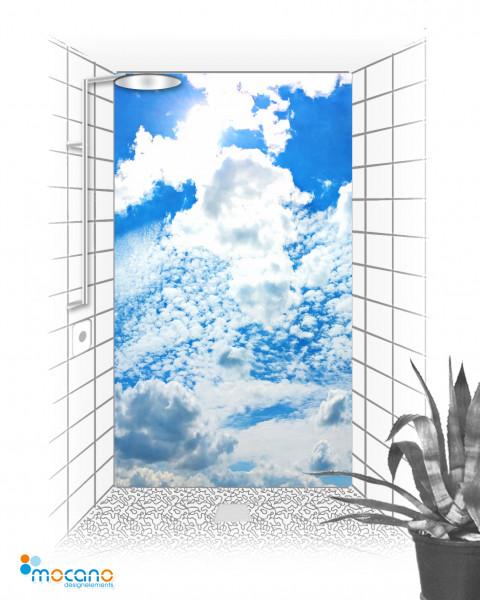 Duschrückwand Wolkenhimmel Panorama 120x210cm - Wohnbeispiel