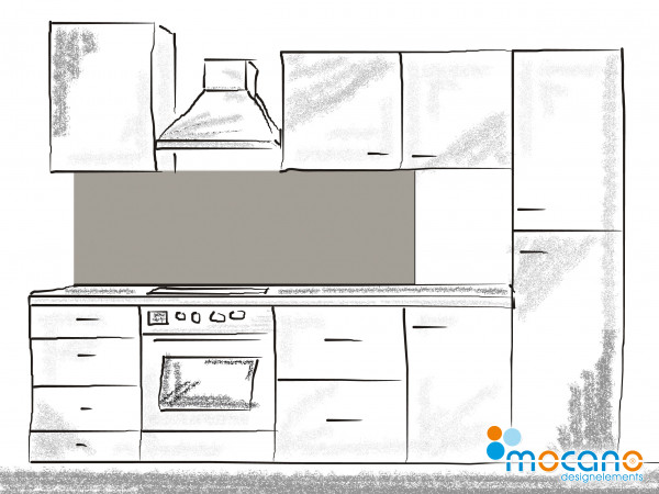 Küchenrückwand Mittel Grau einfarbig UNI 180x60cm - Wohnbeispiel