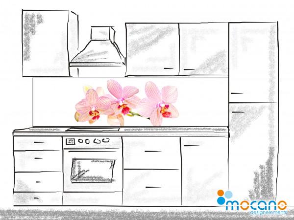 Küchenrückwand Orchidee 3 - 200x50cm - Wohnbeispiel
