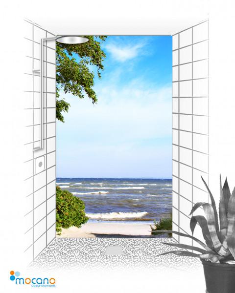 Duschrückwand Birke am Meer 2 120x210cm - Wohnbeispiel