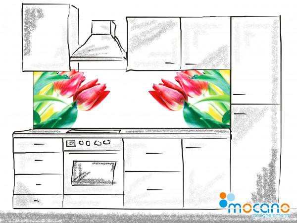 Küchenrückwand Rote Tulpen 200x60cm - Wohnbeispiel