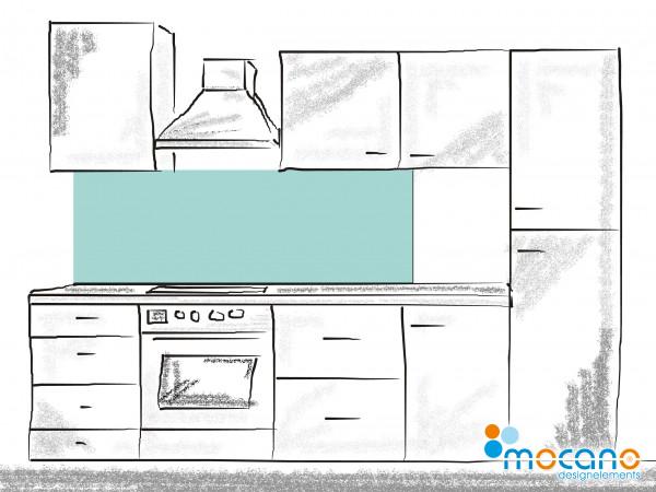 Küchenrückwand Mint einfarbig UNI 180x60cm - Wohnbeispiel