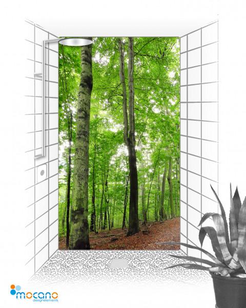 Waldweg 2 - 120x210cm Duschrückwand - Wohnbeispiel