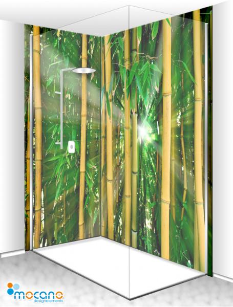 Duschrückwand Eck-Set Bambus Wald 200x210cm - Wohnbeispiel