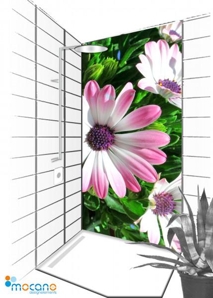 Duschrückwand Flower 29 - 90x210cm - Wohnbeispiel