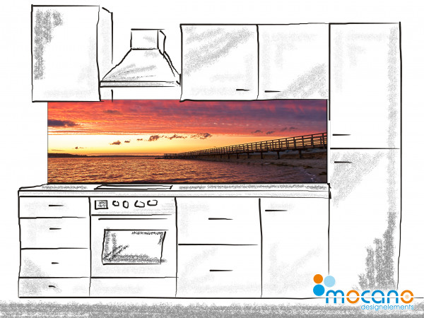 Küchenrückwand Seebrücke Niendorf bei Sonnenuntergang 200x60cm - Wohnbeispiel