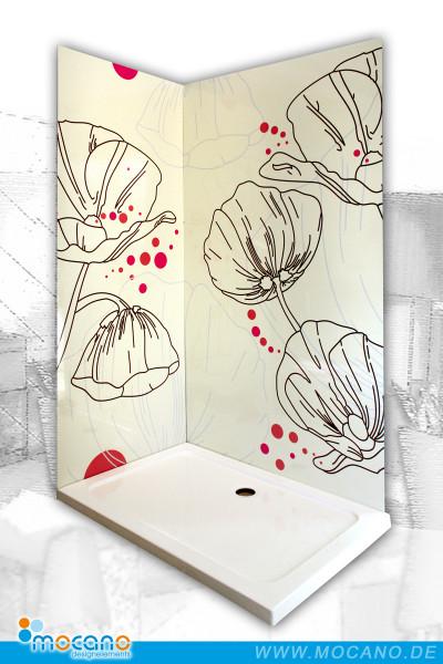 Eck-Duschrueckwand-Design-Mohnblumen
