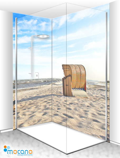 Duschrückwand Eck-Set Strandkorb 6 200x210cm - Wohnbeispiel