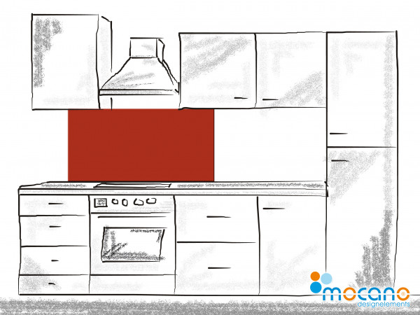 Küchenrückwand Ziegel Rot einfarbig UNI 120x50cm - Wohnbeispiel