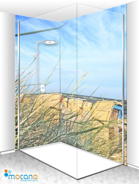 Duschrückwand Eck-Set Blick durch das Schilfgras 200x210cm - Wohnbeispiel