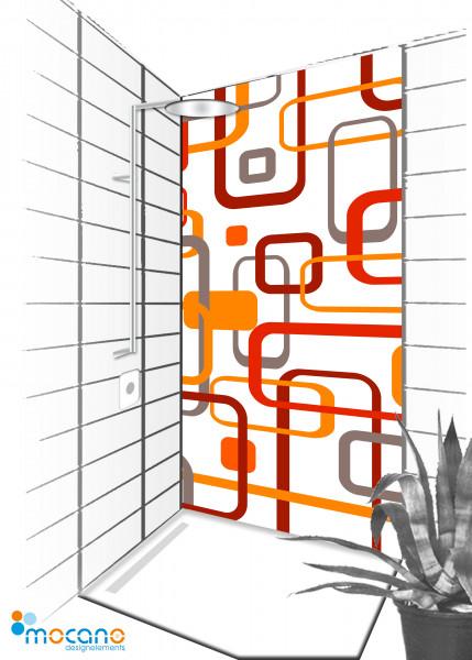 Duschrückwand Retro Classic Line 002 - 90x210cm - Wohnbeispiel
