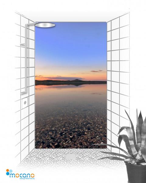 Panorama Sonnenuntergang 120x210cm Duschrückwand - Wohnbeispiel
