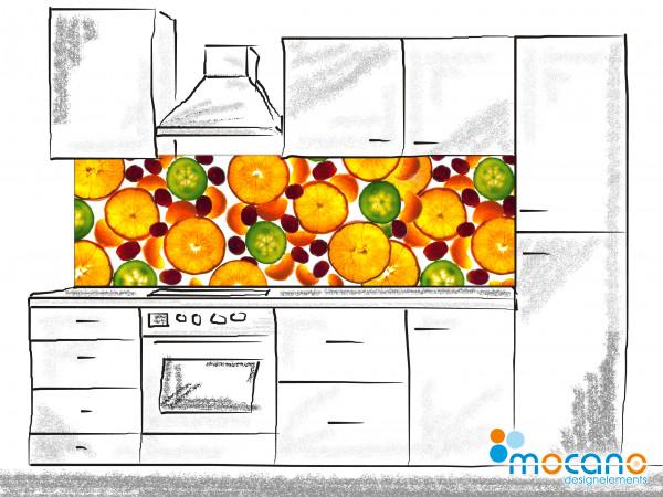Küchenrückwand Früchte Panorama 200x60cm - Wohnbeispiel