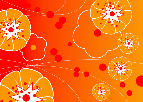 Blumenwand Orange Fototapete
