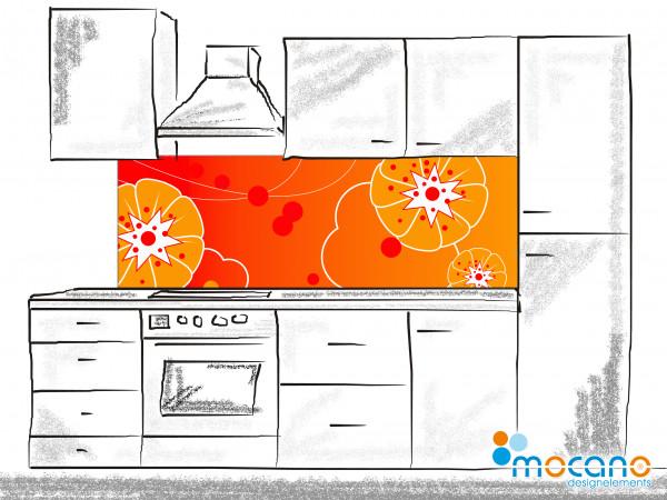 Blumenwand Orange - Küchenrückwand [180x60cm]