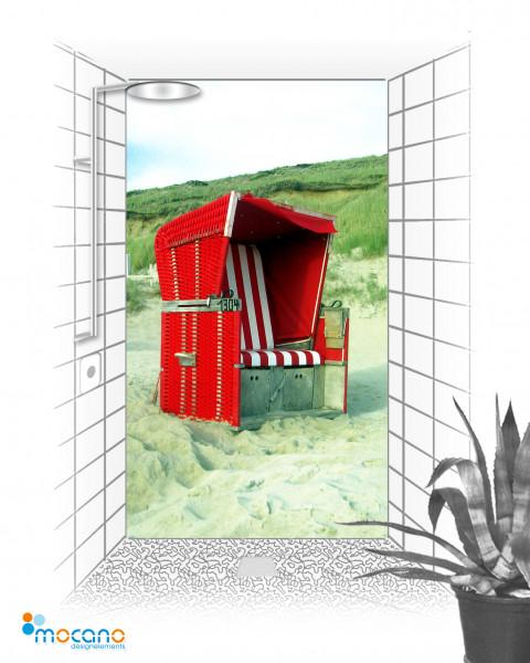 Duschrückwand Strandkorb 120x210cm - Wohnbeispiel