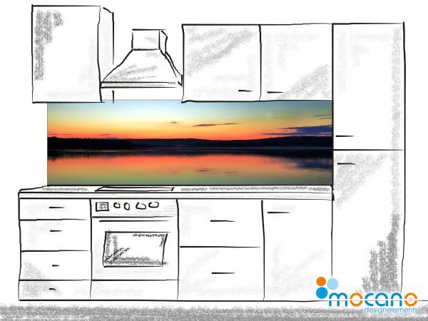 Küchenrückwand Sonnenuntergang am See 2 200x60cm - Wohnbeispiel
