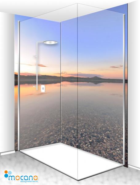 Duschrückwand Eck-Set Panorama Sonnenuntergang 200x210cm - Wohnbeispiel