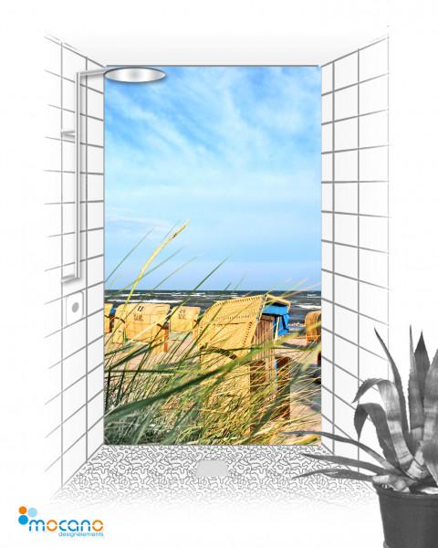 Duschrückwand Blick durch das Schilfgras 120x210cm - Wohnbeispiel