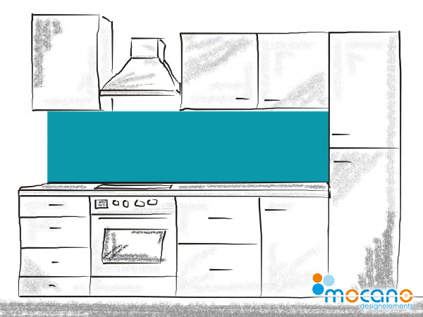 Küchenrückwand Meer Blau einfarbig UNI 200x50cm - Wohnbeispiel