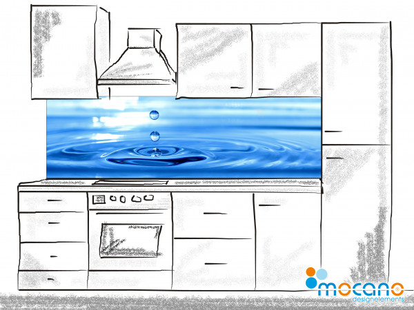 Küchenrückwand Watersplash 200x60cm - Wohnbeispiel