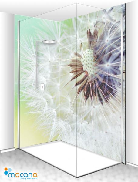 Duschrückwand Eck-Set Pusteblume 200x210cm - Wohnbeispiel