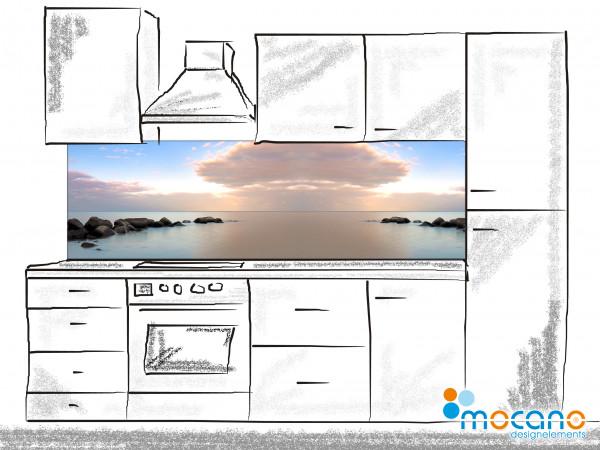 Küchenrückwand Stiller Morgen am Meer 200x60cm - Wohnbeispiel