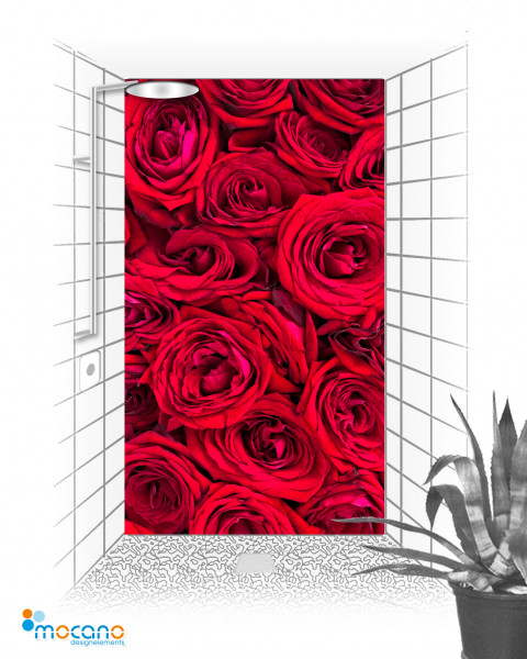 Rote Rosen 120x210cm Duschrückwand - Wohnbeispiel