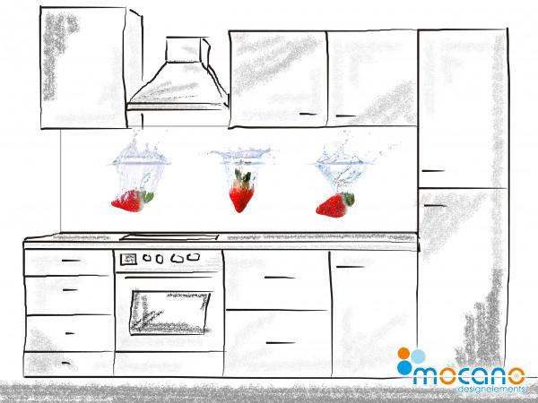 Küchenrückwand Splash Erdbeeren 200x60cm - Wohnbeispiel