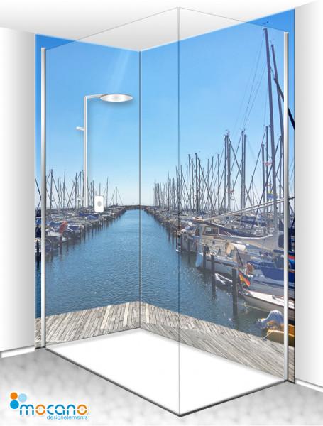 Duschrückwand Eck-Set Yachthafen DE 200x210cm - Wohnbeispiel