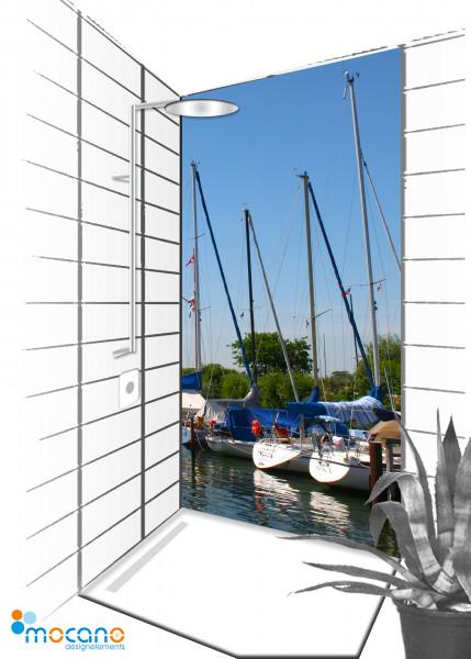 Duschrückwand Hafen 90x210cm  - Wohnbeispiel