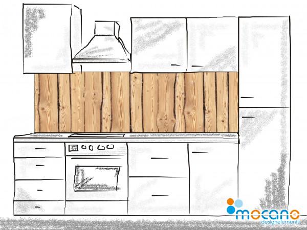 Küchenrückwand Holzoptik Rustikal - 200x60cm Wohnbeispiel