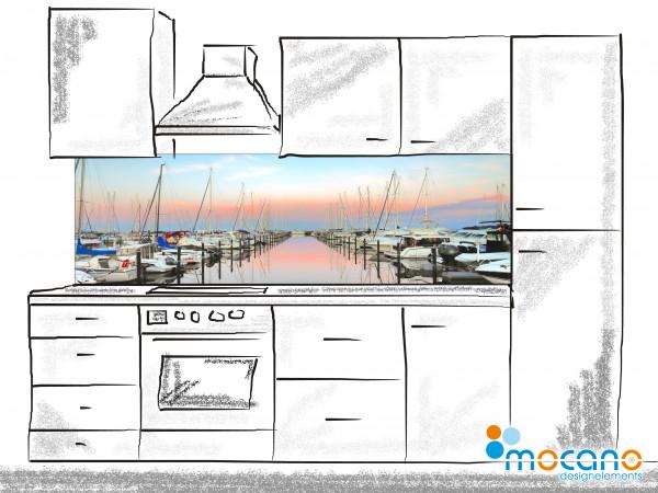 Küchenrückwand Sonnenuntergang im Yachthafen 200x60cm - Wohnbeispiel