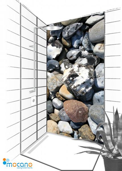 Duschrückwand Stones 10 - 90x210cm - Wohnbeispiel