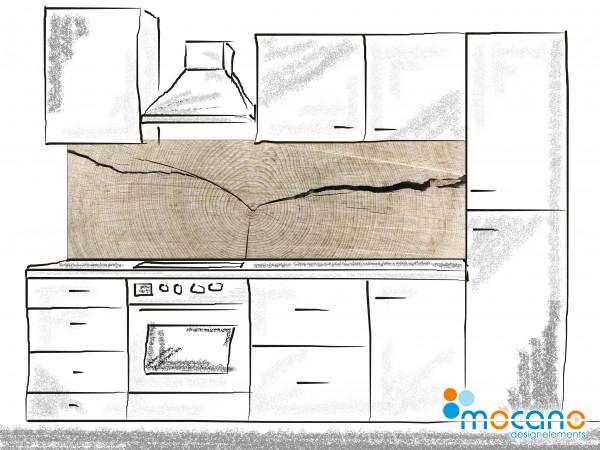 Küchenrückwand Holzstruktur Eiche 200x60cm - Wohnbeispiel