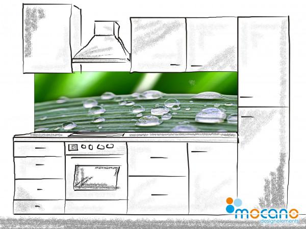 Küchenrückwand Regentropfen 200x60cm - Wohnbeispiel