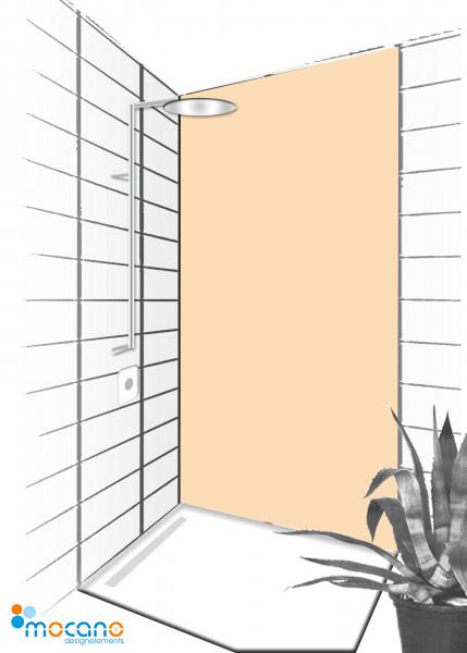 Duschrückwand Pastel Peach 90x210cm einfarbig UNI - Wohnbeispiel