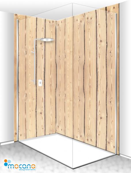 Duschrückwand Eck-Set Holzoptik Rustikal 200x210cm - Wohnbeispiel