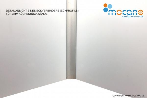 Eckprofil für 3mm Küchenrückwände aus Aluverbund und Acrylglas - Beispielbild