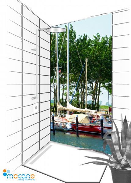 Duschrückwand Hafen 4 - 90x210cm - Wohnbeispiel