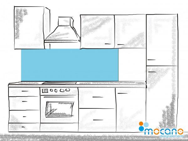 Küchenrückwand Licht Blau einfarbig UNI 180x50cm - Wohnbeispiel