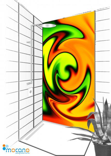 Duschrückwand Yellow Twister 90x210cm - Wohnbeispiel